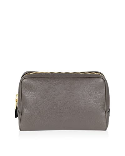 Tom Ford Men's Pebbled Leather Single Zippered Toiletry Bag, Slate Gray