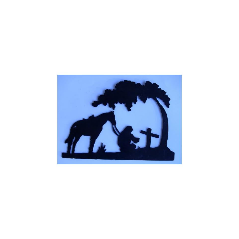 Western,Cowboy,Metal Art, Horse, Praying at tree, Approximate size10 1/2 W x 7 1/2 H