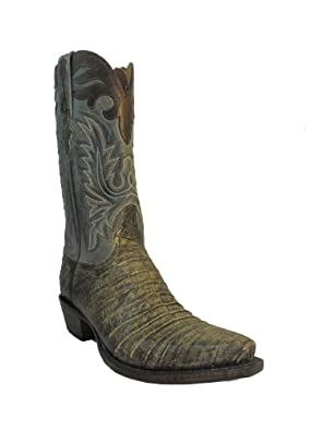Lucchese classic mens Cowboy Boots L1424.53 Jungle Belly Caiman Sky Blue Brown Size 10