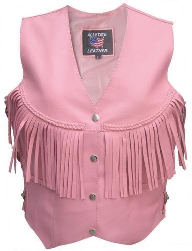 Ladies Pink vest with fringe, braid,conches, side laces