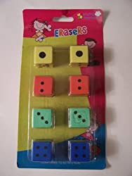 Dice Erasers Set Of 8 Erasers, 1 Each
