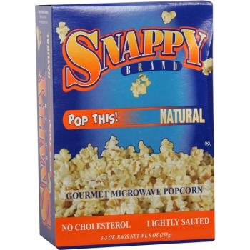 12/3 Pack Snappy Natural Microwave Popcorn [36 Pieces] *** Product Description: Packaged 12 Per Box 3 Boxes Per Case For A Total Of 36 Popcorn Bags. 12/3 Packs Per Case - Snappy Natural Microwave Popcorn *** front-566352