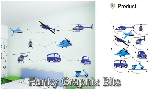 PLANES CHILDREN WALL STICKERS LARGE SET OF STICKERS KID'S BEDROOM DECOR NURSERY DECALS ART MURAL Aeropleanes Boys and Girls Wall Decoration