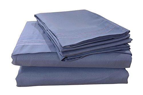 Honeymoon-1800T-Brushed-Microfiber-4PC-Bedding-Sheet-Set-Sheet-Pillowcase-Sets-Queen-Blue