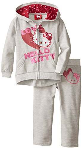 Hello Kitty Little Girls' Slub French Terry Screen Set, Heather Gray, 2T front-1056477