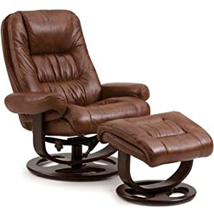 Lane Andre Leather Recliner and Ottoman in Tri-Tone Whiskey