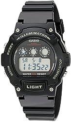 Casio Kids' W-214HC-1AVCF Black Resin Digital Watch