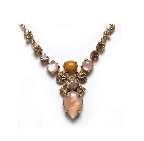 'Love and Tenderness' 2013 Collection 24K Rose Gold Plated Charming Pendant by Amaro Jewelry Studio with Tear Drops, Rose Quartz, Pink Aventurine, Pink Mussel, Coral Salmon and Swarovski Crystals; Handmade in Israel