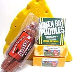 C1-8-Green Bay Packer Cheesehead Hat & WI Cheese & Sausage Pack