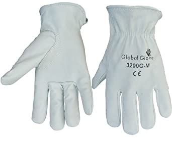 Global Glove 3200G Goatskin Driver Premium Grade Driver Glove with Slip-on Cuff and Keystone Thumb, Work, Large, Gray (Case of 72)