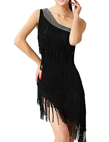 KAYAMIYA Women's 20's Beaded One Shoulder Layers Fringe Gatsby Flapper Dance Dress