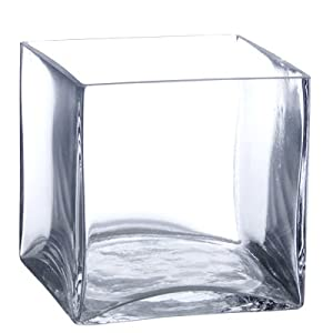 "Clear Square Glass Vase - Cube - 5 Inch - 5"" x 5"" x 5"""