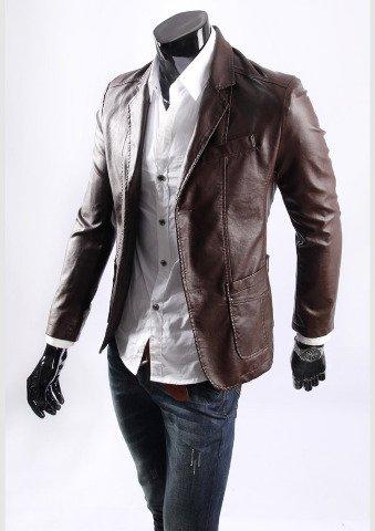 D.ブラウン L 合皮レザー 高品質 PUジャケット