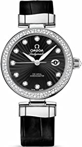 Omega DeVille Ladymatic Black Diamond Dial Stainless Steel Black Leather Ladies Watch 425.38.34.20.51.001