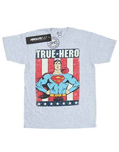 DC-Comics-hombre-Superman-True-Hero-Camiseta-Large-cuero-gris