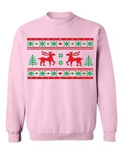 Festive Threads Ugly Christmas Sweater Design (Moose Design) Adult Sweatshirt (Pink, Small)