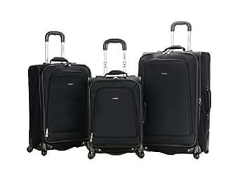 Rockland Luggage Fusion 3 Piece Set, Black, Medium
