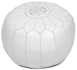 White Moroccan Leather Pouf Ottoman, Unstuffed