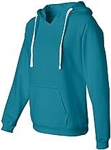 JAmerica Womens Brushed V-Neck Hooded Fleece