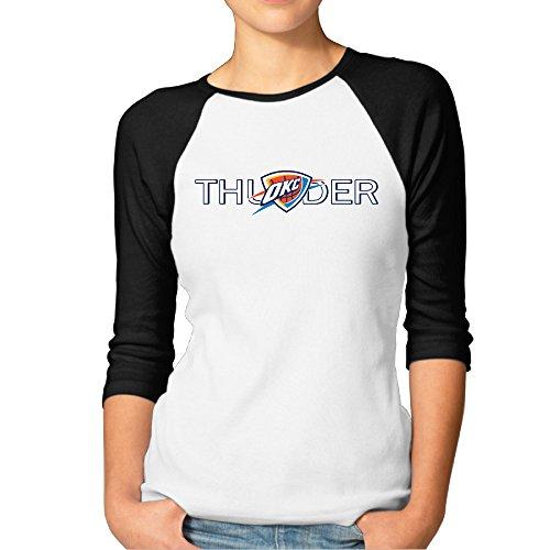 VINCEIE Women's 3/4 Sleeve Raglan T Shirt Oklahoma City Logo Thunder Size L Black (Kitchenaid Toaster Oven Large compare prices)