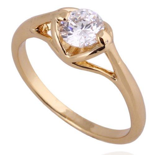 C-Princessリング 指輪 ring 18K金メッキ コーティング ラインストーン レディース 女性 アクセサリー ウェディング エンゲージリング 使いやすい 高級感 (15, イエローゴールド)