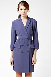 3/4 Sleeve Crepe Double Breast Trench Dress