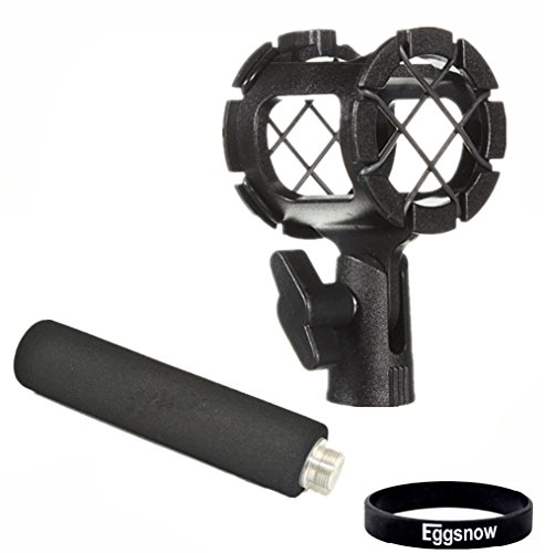 Eggsnow Camera Microphone Shockmount Holder Clip + Foam Handle Grip For Mic Zoom H1, Senheisser Me66, Rode Ntg-2,Ntg-1,Audio-Technica At-875R Etc