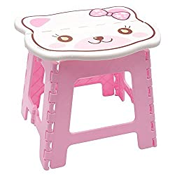 Pink Folding Step Stool for Kids, Cute Cat design Stepping Stools, Garden Step Stool Multipurpose Portable Stool Compact Stool Portable Super Strong Plastic Stools for Child Kids By Instabuyz