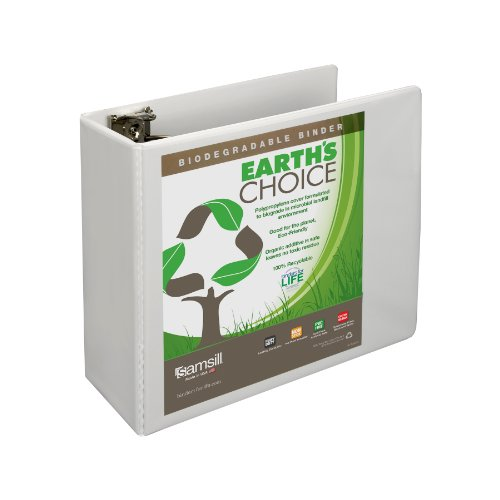 Samsill Earth's Choice 5-Inch View Binder, Round Ring, White (18907)
