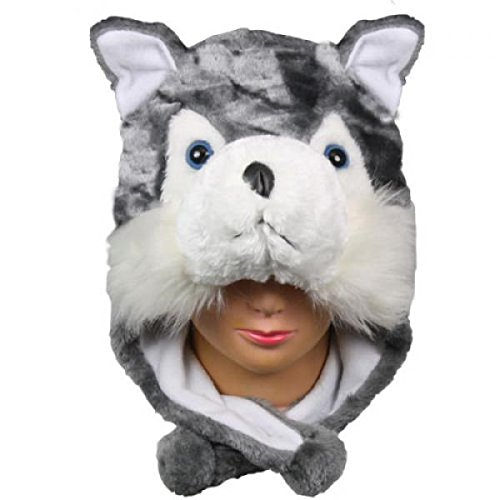 Husky_New_Warm Cap Earmuff Gift Cartoon Animal Hat Fluffy Plush Cap – Unisex (US Seller)