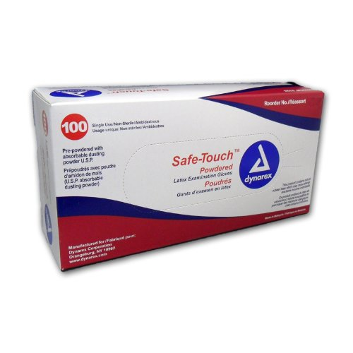 Safe-Touch Disposable Latex Exam Gloves, Lightly Powdered, Size Small, Box/100