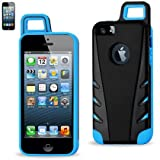 iPhone 5 Case, Light Blue & Black Loggerhead® Belt Clip Carabiner Case Cover for Apple iPhone 5 5s - Retail Packaging