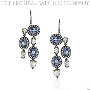 10.75cts of Natural Blue Sapphires set in 18k White Gold Earrings with 4.80cts of Diamonds (J3554)