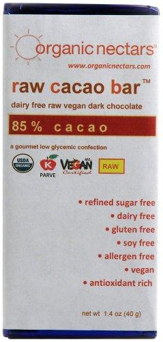 Organic Nectars Raw Cacao Chocolate Bar, 85% Cacao, 1.4-Ounce Bar (Pack of 3)