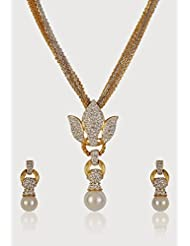 Estelle Gold Plated Necklace Set With Crystals And Pearl For Women - B00NAWZX2U