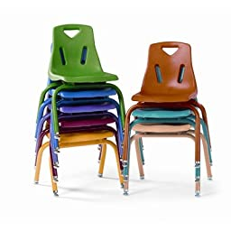 Berries Plastic Chair (Set of 6) Leg Finish: Powder Coated, Color: Yellow, Size: 8\