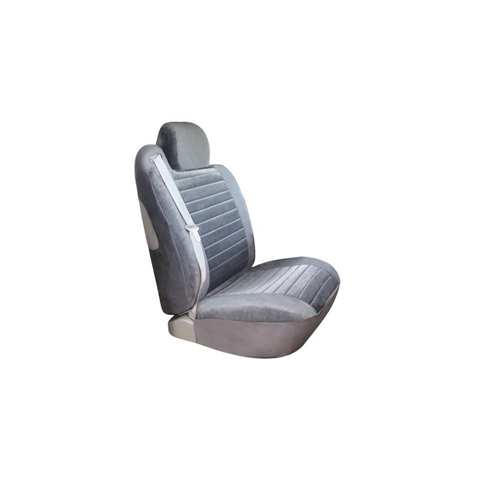 Saddleman Custom Made Front Bucket Seat Covers   Windsor Velour Fabric (Gray)