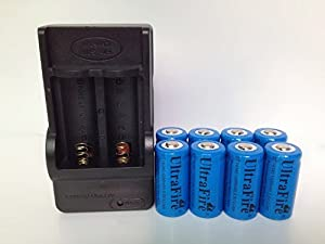 ON THE WAY®8PCS 16340 1200mAh 3.6V Blue Rechargeable Battery Plus Charger
