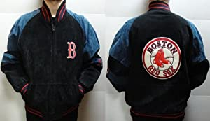 Black and Blue Suede Boston Red Sox Coat by J.H. Design