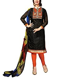 Rudra house Women's chanderi cotton unstitched dress material(PKR-1006 black and orange free size)