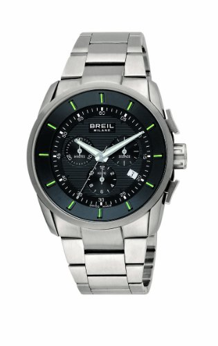 Breil Men's Milano Quartz Chronograph Watch BW0491 with Stainless Steel Case, Black Dial, Date and Stainless Steel Bracelet