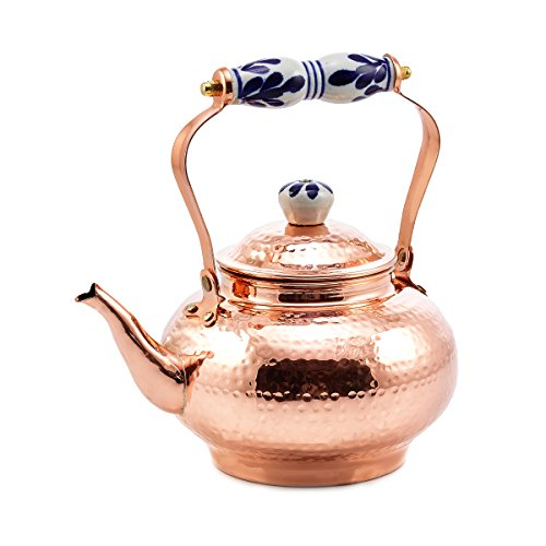 Old Dutch Solid Copper Hammered Tea Kettle with Ceramic Handle, 2 quart (Copper Kettle compare prices)