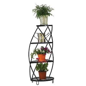 Austram 28012417 Spiral Plant Stand, Leather Black