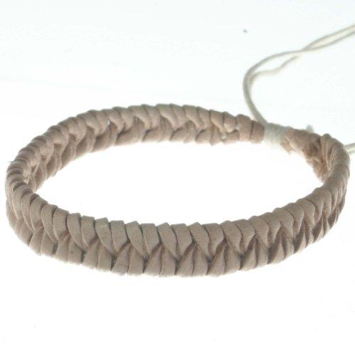 Light color leather classic braiding style eco fashion unisex adjustable B2 bracelet anklet