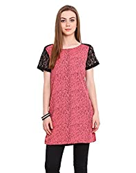 Blink Pink Coloured Poly & Crepe Tunic Large