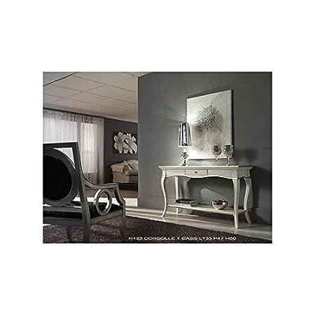 Table console bois massif col blanc et or bicolore-comme photos