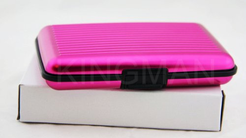 new-pink-aluminum-aluma-wallet-credit-card-holder-frid-blocking