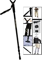 Extreme Deluxe Hunting Shooting Gun Pod Height Adjustable Collapsible & Shock Absorbing Stick Monopod Telescopic Kit With Integrated Camera Mount (29\