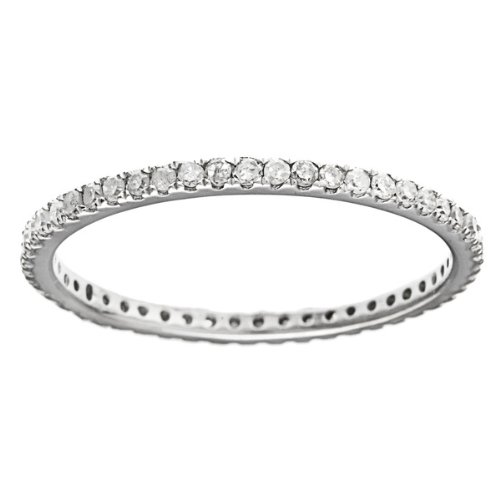 White Gold 1/2ct Pave Eternity Diamond Wedding Band (G-H, I1-I2)