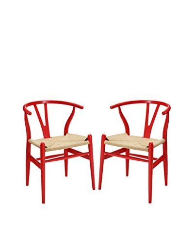Modway Set of 2 Amish Dining Arm Chairs, Red